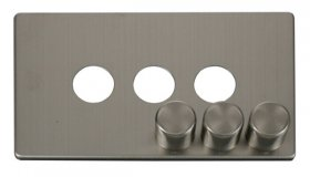 Click Definity 3 Gang Dimmer Switch Cover Plate & Knobs SCP243SS