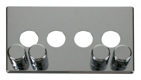 Click Definity 4 Gang Dimmer Switch Cover Plate & Knobs SCP244CH