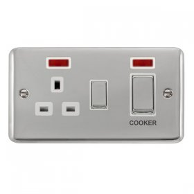 Click Deco Plus 45A DP Switch with Socket Outlet Neon DPCH505WH