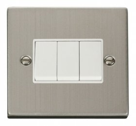 Click Deco Stainless Steel 3 Gang 2 Way Switch VPSS013WH