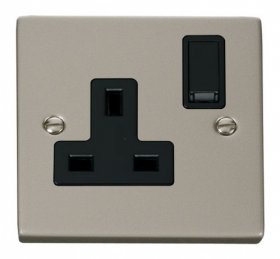 Click Deco Pearl Nickel 13A Single Switched Socket VPPN035BK