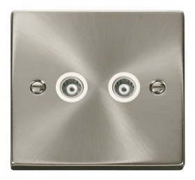 Click Deco Satin Chrome Twin Isolated Coaxial Socket VPSC159WH