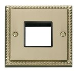Click Deco Georgian Brass Single Plate 2 Gang Aperture GCBR402BK