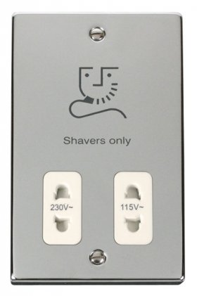 Click Deco Polished Chrome Dual Voltage Shaver Socket VPCH100WH