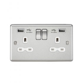 Knightsbridge Brushed Chrome Dual USB Double Socket CL9224BC