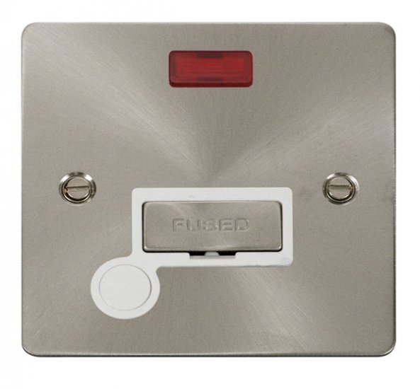 Click Define Brushed Steel Unswitched Spur Neon + F/O FPBS553WH