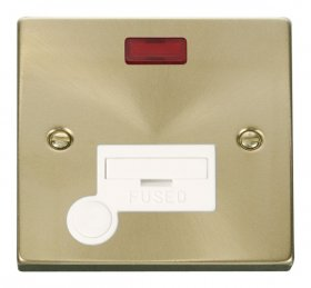 Click Deco Satin Brass Unswitched Fused Spur Neon F/O VPSB053WH