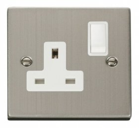 Click Deco Stainless Steel 13A Single Switched Socket VPSS035WH
