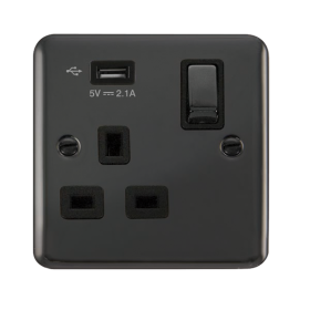 Click Deco Plus 13A Single Switched Socket USB DPBN571UBK