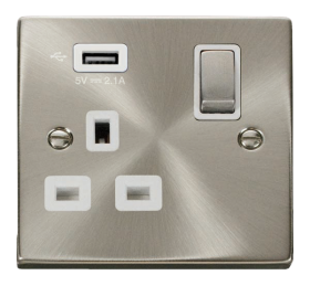 Click Deco Satin Chrome USB Single Switched Socket VPSC571UWH