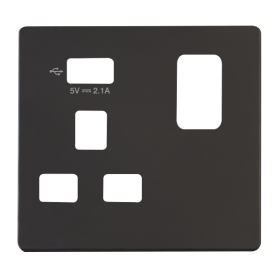 Click Definity 1 Gang USB Switched Socket Cover Plate SCP471UBK