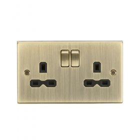 Knightsbridge Antique Brass 13A Double Switched Socket CS9AB