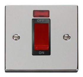 Click Deco Polished Chrome 1 Gang 45A DP Switch + Neon VPCH201BK