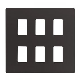 Click Definity Black 6 Gang Grid Pro Front Plate SCP20506BK