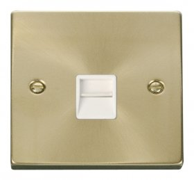Click Deco Satin Brass Single Master Telephone Socket VPSB120WH