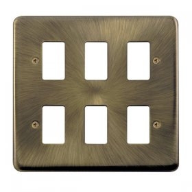 Click Deco Plus Ant/Brass 6 Gang Grid Pro Front Plate DPAB20506