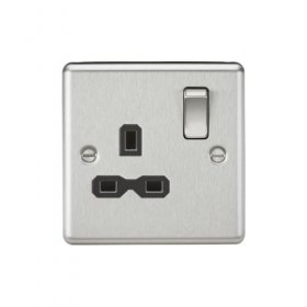 Knightsbridge Brushed Chrome 13A Single Switched Socket CL7BC