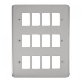 Click Deco Plus Pol/Chrome 12 Gang Grid Pro Plate DPCH20512