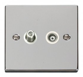 Click Deco Polished Chrome Satellite & Coaxial Socket VPCH157WH