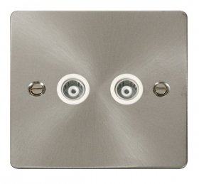 Click Define Brushed Steel Twin Isolated Coaxial Point FPBS159WH