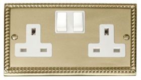 Click Deco Georgian Brass 13A Double Switched Socket GCBR036WH