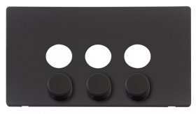 Click Definity 3 Gang Dimmer Switch Cover Plate & Knobs SCP243BK