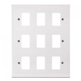 Click Polar White 9 Gang Grid Pro Front Plate PRW20509