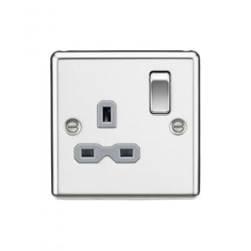 Knightsbridge Polished Chrome 13A Single Switched Socket CL7PC
