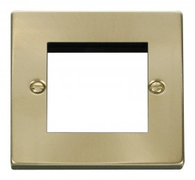 Click Deco Satin Brass New Media 1 Gang Twin Aperture VPSB311