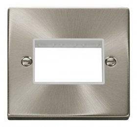 Click Deco Satin Chrome Single Plate 3 Gang Aperture VPSC403WH
