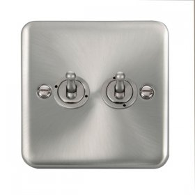 Click Deco Plus Satin Chrome 2 Gang 2 Way Toggle Switch DPSC422