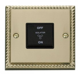Click Deco Georgian Brass 3 Pole Fan Isolator Switch GCBR020BK