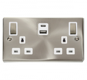 Click Deco Satin Chrome Type A & C USB Double Socket VPSC586WH