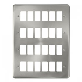Click Deco Plus Satin Chrome 24 Gang Grid Pro Plate DPSC20524