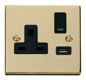 Click Deco Polished Brass USB Single Switched Socket VPBR771BK