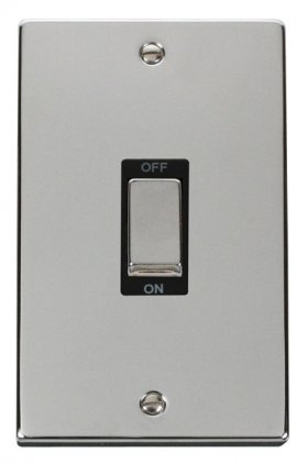 Click Deco Polished Chrome 2G 45A DP Vertical Switch VPCH502BK