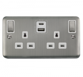 Click Deco Plus S/Steel Type A & C USB Double Socket DPSS586WH