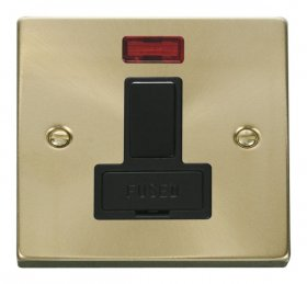 Click Deco Satin Brass Switched Fused Spur with Neon VPSB652BK