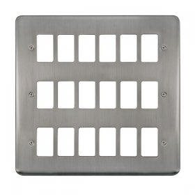Click Deco Plus S/Steel 18 Gang Grid Pro Front Plate DPSS20518