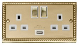 Click Deco Georgian Brass USB Double Switched Socket GCBR570WH