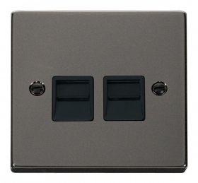Click Deco Black Nickel Twin Master Telephone Socket VPBN121BK