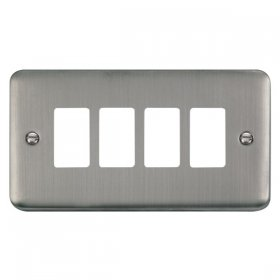 Click Deco Plus S/Steel 4 Gang Grid Pro Front Plate DPSS20404