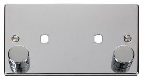Click Polished Chrome Twin Dimmer Plate 1630W Max VPCH186