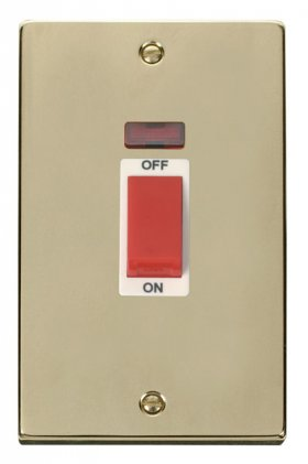 Click Deco Polished Brass 45A Vertical DP Switch Neon VPBR203WH