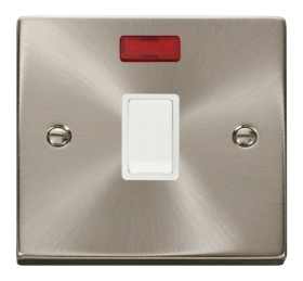 Click Deco Satin Chrome 20A Double Pole Switch + Neon VPSC623WH