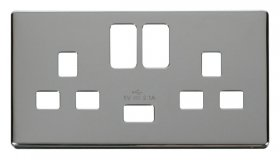 Click Definity 2 Gang USB Switched Socket Cover Plate SCP470CH
