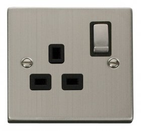 Click Deco Stainless Steel 13A Single Switched Socket VPSS535BK
