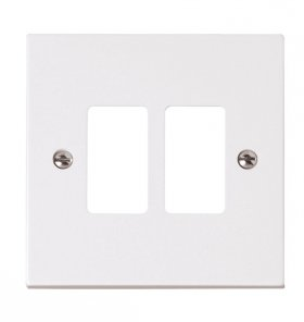 Click Polar White 2 Gang Grid Pro Front Plate PRW20402