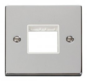 Click Polished Chrome Single Plate 2 Gang Aperture VPCH402WH