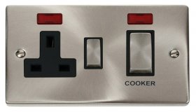 Click Deco Satin Chrome 45A DP Switch and Socket Neon VPSC505BK